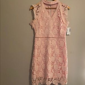 NWOT Just Me Crochet Lace Overlay Pink Dress.
